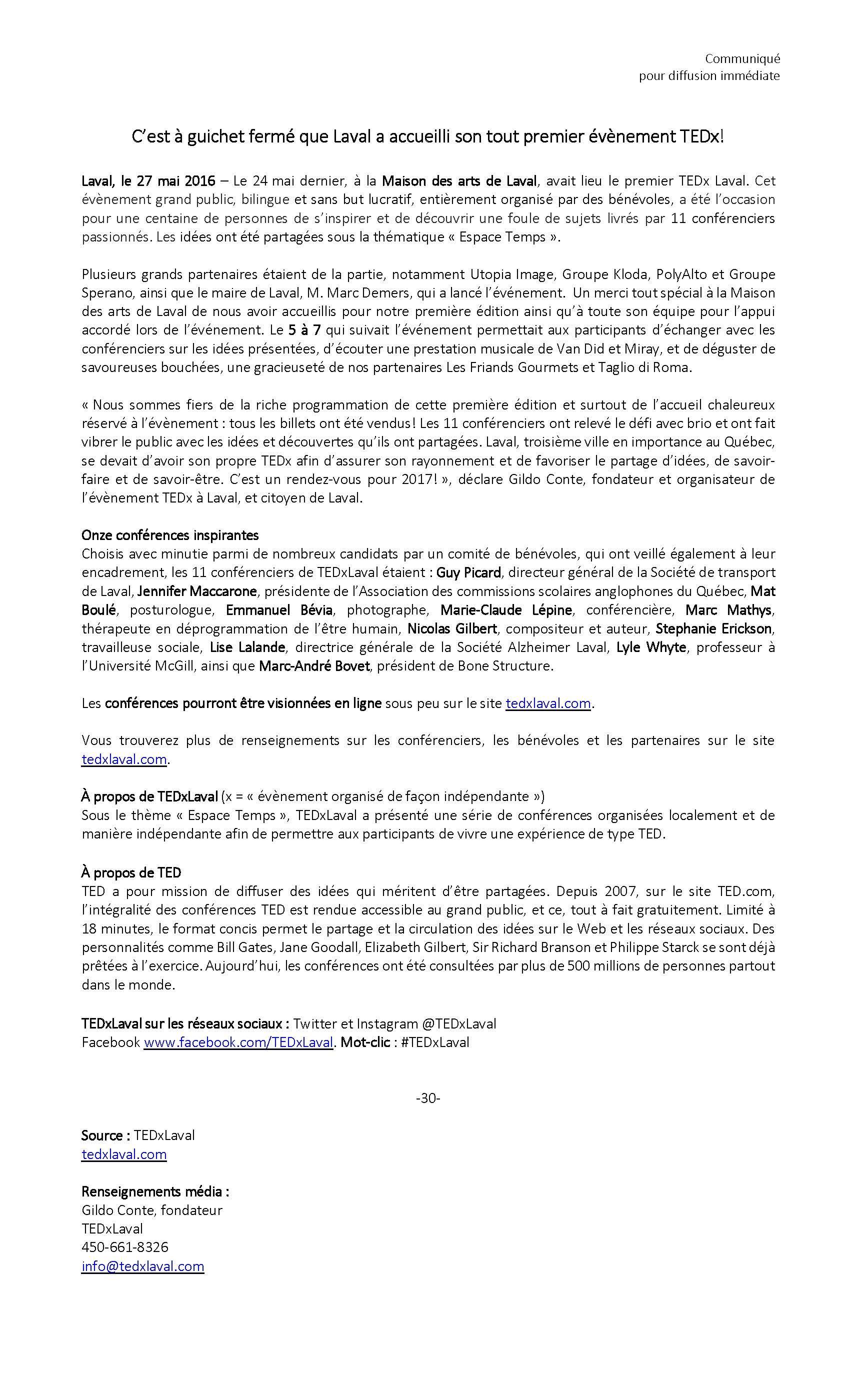 Communiqué_TEDX Laval_27 mai