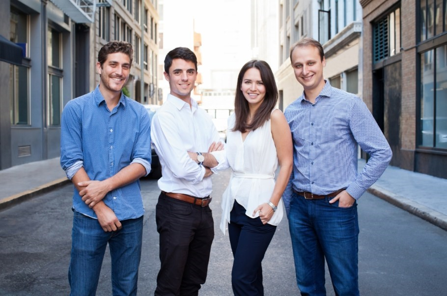 BONE Structure s'-installe en Californie. (Gauche à droite :Guillaume Bazouin, Charles-Olivier Bovet, Gabrielle Labrosse, Jorge Gonzalez) (Groupe CNW/BONE Structure)