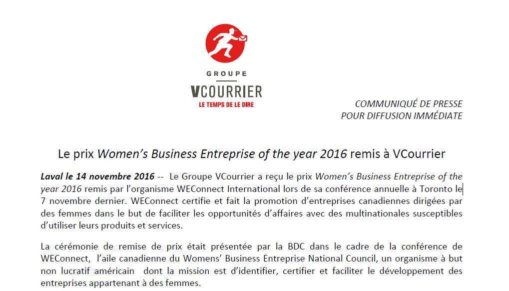 Le prix women s business entreprise of the year 2016 remis for Chambre de commerce ci