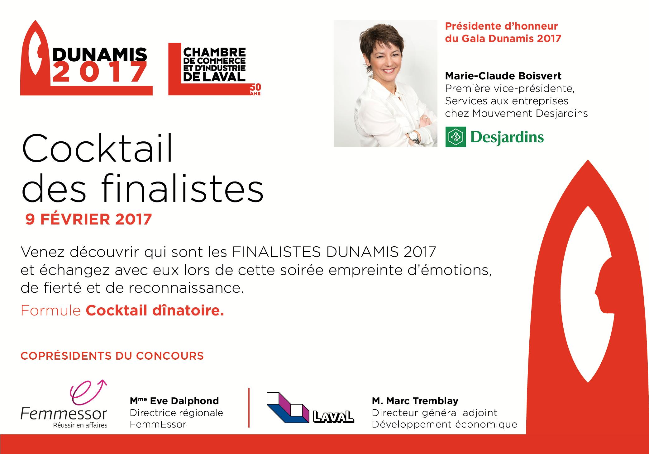 Cocktail des finalistes dunamis 2017 chambre de for Chambre de commerce et d industrie de laval