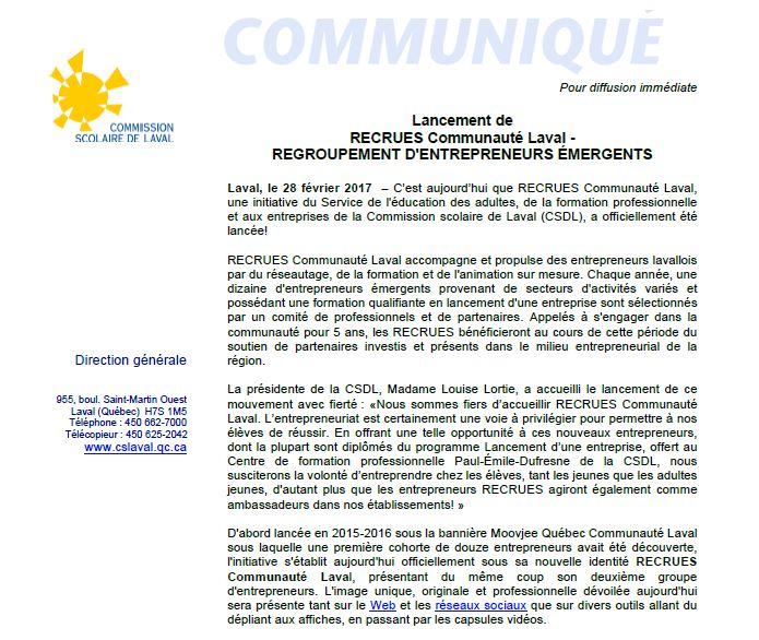 Communiqué_lancement 2e cohorte Recrues_1er mars