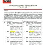 Amendement proposé aux règlements généraux